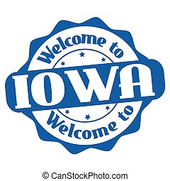 Welcome to Iowa sign or stamp