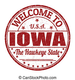 Welcome to Iowa grunge rubber stamp on white background, vector illustration