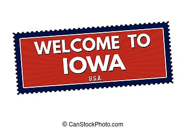 Welcome to Iowa travel sticker or stamp