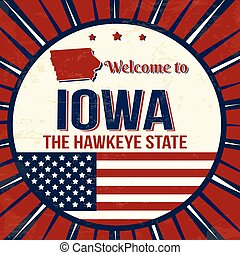 Welcome to Iowa vintage grunge poster