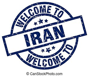 welcome to Iran blue stamp
