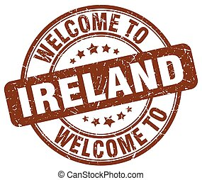 welcome to Ireland brown round vintage stamp