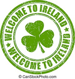 Welcome to Ireland vector stamp