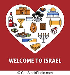 Welcome to Israel promo banner with country symbols inside heart