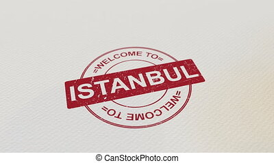 WELCOME TO ISTANBUL wooden stamp animation. Alpha matte for...