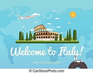 Welcome to Italy poster with famous attraction