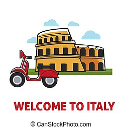 Welcome to Italy promotional banner with famous coliseum and...
