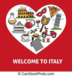 Welcome to Italy promotional poster with country simbols inside heart