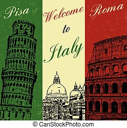 Welcome to Italy vintage travel poster, vector illustration