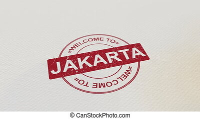 WELCOME TO JAKARTA wooden stamp animation. Alpha matte for...