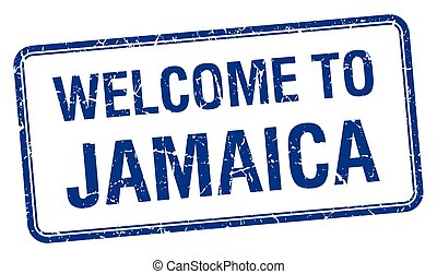 welcome to Jamaica blue grunge square stamp