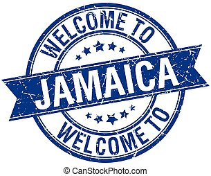 welcome to Jamaica blue round ribbon stamp