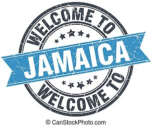 welcome to Jamaica blue round vintage stamp