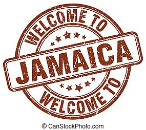 welcome to Jamaica brown round vintage stamp