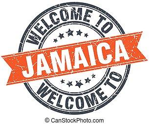 welcome to Jamaica orange round ribbon stamp
