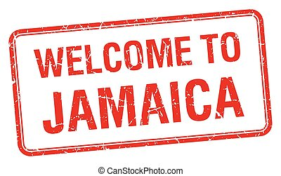 welcome to Jamaica red grunge square stamp