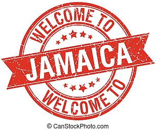 welcome to Jamaica red round ribbon stamp