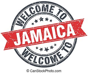 welcome to Jamaica red round vintage stamp