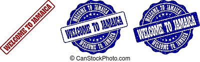WELCOME TO JAMAICA Scratched Stamp Seals