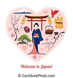 Welcome to Japan. Isolated heart shape with Japan flat icons.