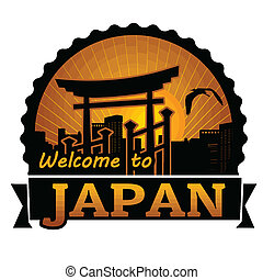 Welcome to Japan label or stamp