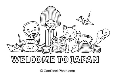 Welcome to Japan. Page for coloring book. Group of cartoon characters.