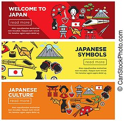Welcome to Japan promo Internet banners with country symbols