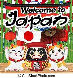 welcome to japan with maneki cat and daruma doll
