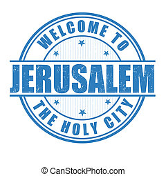 Welcome to Jerusalem, The Holy City grunge rubber stamp on white, vector illustration