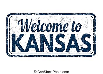 Welcome to Kansas sign or stamp