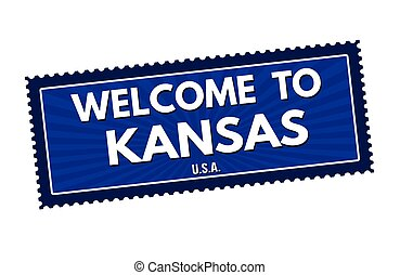 Welcome to Kansas travel sticker or stamp