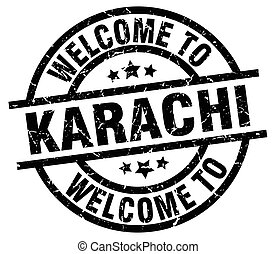 welcome to Karachi black stamp