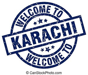welcome to Karachi blue stamp
