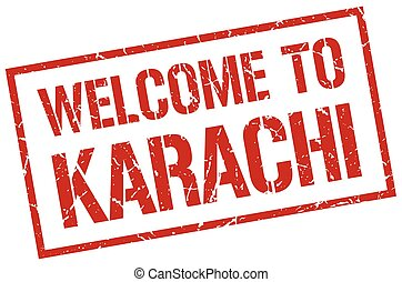 welcome to Karachi stamp