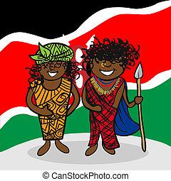 Welcome to Kenya people - Kenyan man and woman cartoon...