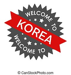 Welcome to KOREA. Round label with red ribbon. Vector illustration