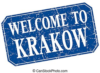 welcome to Krakow blue square grunge stamp