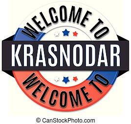 welcome to krasnodar russia flag icon - round glossy flag ...