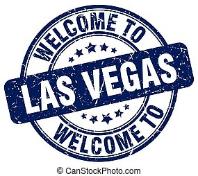 welcome to Las Vegas blue round vintage stamp