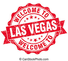 welcome to Las Vegas red vintage isolated seal