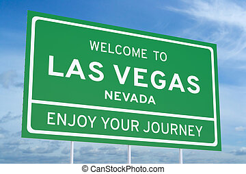 Welcome to Las Vegas road sign, 3D rendering