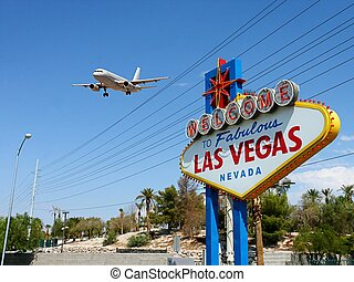 Welcome to Las Vegas Sign with Arriving Airplane