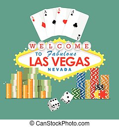 Welcome to Las Vegas sign with gambling elements