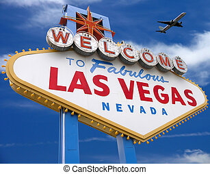 welcome to las vegas sign with plane flying overhead in las vegas