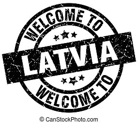 welcome to Latvia black stamp