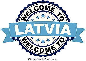 Welcome to Latvia blue black rubber stamp illustration vector