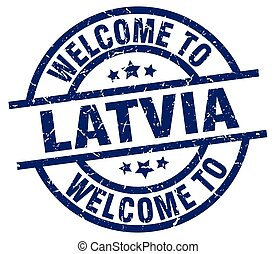 welcome to Latvia blue stamp