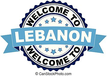 Welcome to Lebanon blue black rubber stamp illustration vector