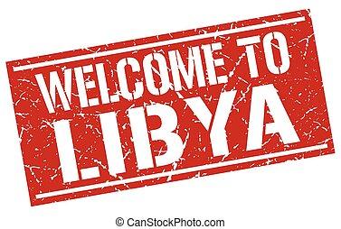 welcome to Libya stamp