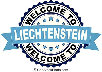 Welcome to Lichtenstein blue black rubber stamp illustration vector